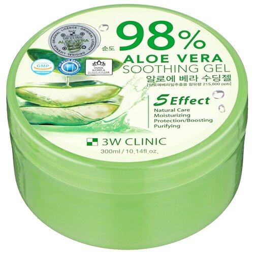 Гель для тела 3W Clinic универсальный с 98% содержанием экстракта алоэ вера Aloe Vera Soothing Gel, 300 мл гель для тела farmstay универсальный смягчающий с экстрактом алоэ aloe vera moisture soothing gel 300 мл