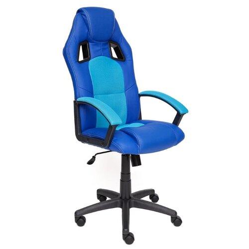Компьютерное кресло TetChair Драйвер игровое, обивка: текстиль/искусственная кожа, цвет: синий/бирюзовый компьютерное кресло tetchair runner игровое обивка текстиль искусственная кожа цвет черный желтый
