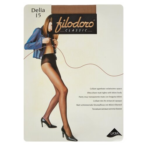 Фото - Колготки Filodoro Classic Delia, 15 den, размер 4-L, playa (бежевый) колготки filodoro classic ok shape 40 den размер 4 l playa бежевый