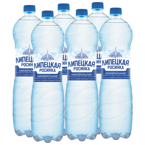 Вода минеральная природная питьевая лечебно-столовая Липецкая Росинка газированная, ПЭТ, 6 шт. по 1.5 л вода минеральная природная питьевая лечебно столовая липецкая газированная стекло 12 шт по 0 5 л