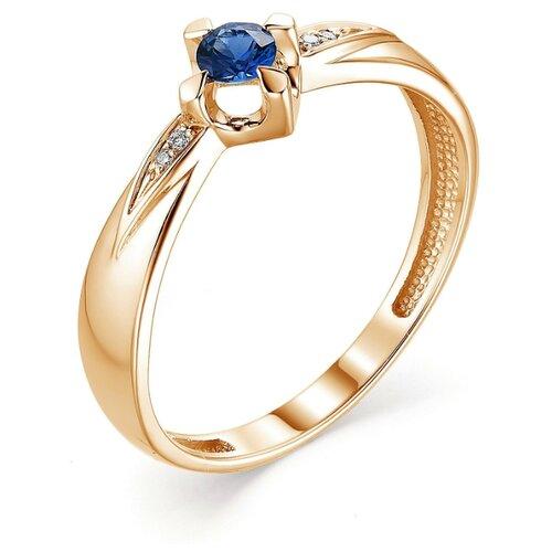 АЛЬКОР Кольцо с сапфиром и бриллиантами из красного золота 13326-102, размер 17.5 фото