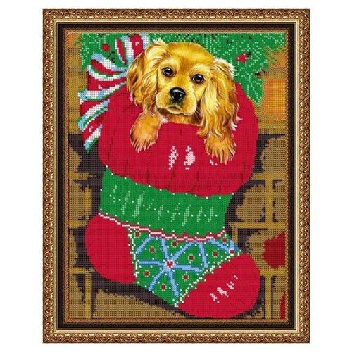 Купить Диамант Набор алмазной вышивки Новогодний щенок (ДВЛ-004) 30х38 см, Алмазная вышивка
