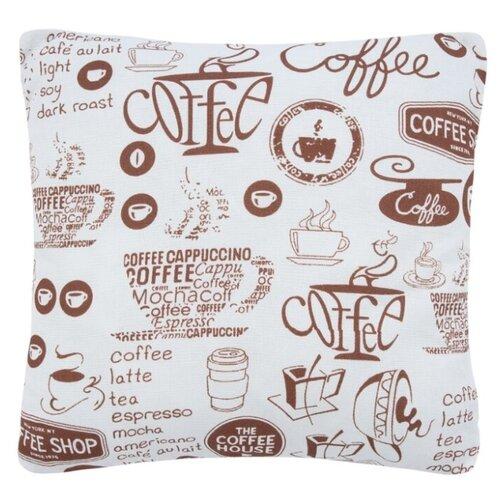 цена Подушка декоративная Guten Morgen Кофе 40х40 см белый/коричневый онлайн в 2017 году