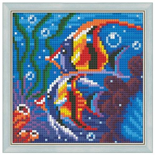 Купить Алмазная живопись Набор алмазной вышивки Обитатели рифа (АЖ-1364) 15х15 см, Алмазная вышивка
