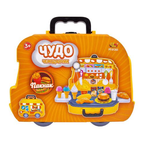 Купить Набор продуктов с посудой ABtoys Пикник PT-01265 оранжевый, Игрушечная еда и посуда