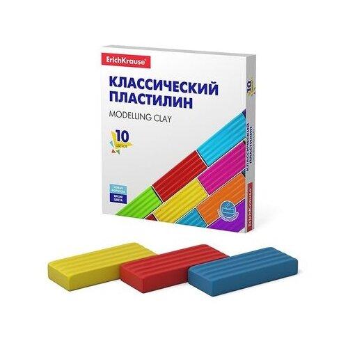 Купить Пластилин ErichKrause Классический Basic 10 цветов/160 г (50640), Пластилин и масса для лепки