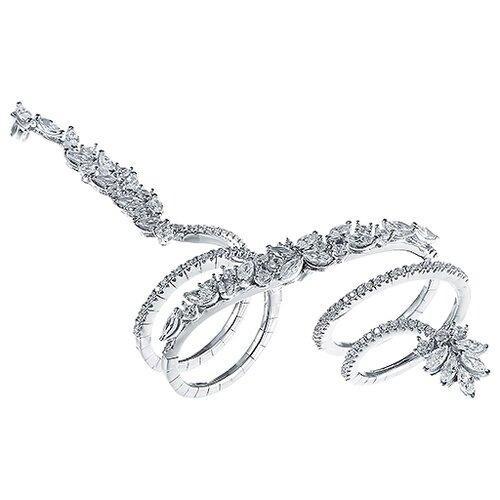 JV Кольцо с фианитами из серебра SRT00024-KO-001-WG, размер 18 jv кольцо с фианитами из серебра dm2370r ko 001 wg размер 18