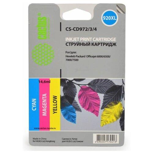 Фото - Картридж струйный Cactus CS-CD972/3/4 №920XL голубой/желтый/пурпурный набор (43.8мл) для HP DJ 6000/ картридж струйный hp 728 f9k17a голубой 300мл для hp dj t730 t830