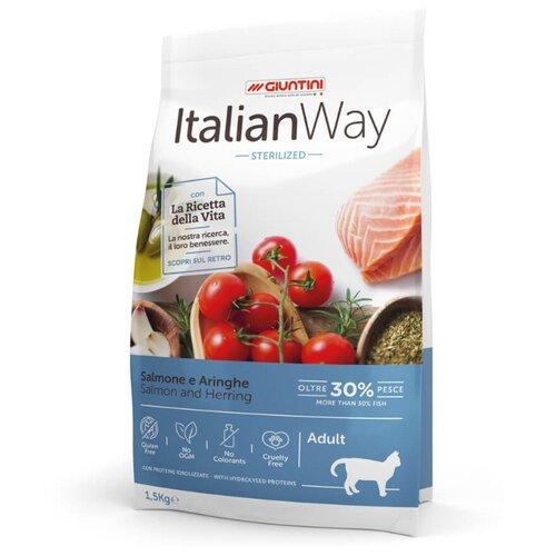 Сухой корм для стерилизованных кошек Italian Way с лососем, с сельдью 1.5 кг