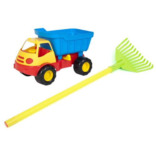 Купить Игровой набор: автомобиль самосвал ACTIVE (15-5248) + грабли детские веерные (15-10931), ZEBRATOYS, Наборы в песочницу