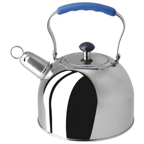 Фото - REGENT inox Чайник со свистком Tea 93-2507 3 л, серебристый/синий чайник 2 6 л со свистком regent tea 93 tea 28