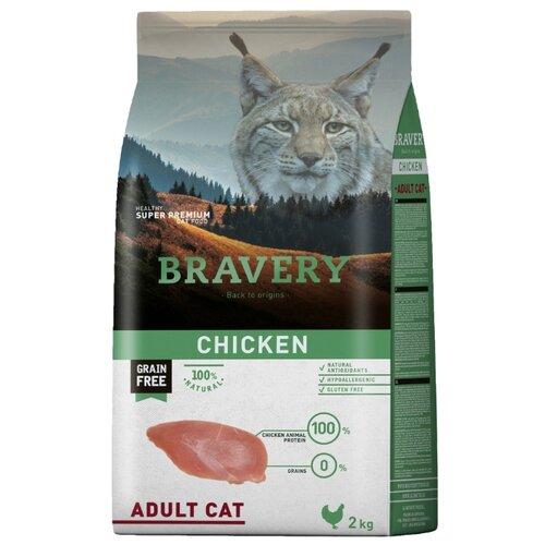 Корм для кошек Bravery беззерновой, с курицей 2 кг
