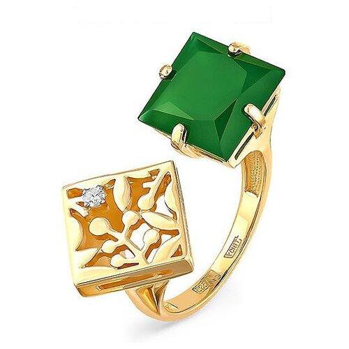 Фото - KABAROVSKY Кольцо с ониксом и бриллиантом из жёлтого золота 11-2989-4200, размер 18 kabarovsky кольцо с 1 бриллиантом из жёлтого золота 11 2999 1000 размер 18