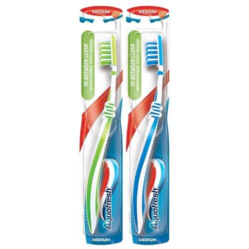 Зубная щетка Aquafresh In-between Clean, голубой/зеленый, 2 уп.