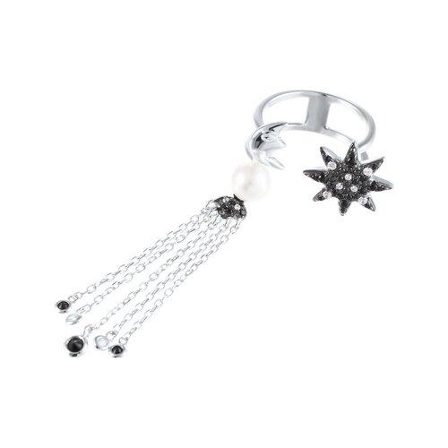 Фото - JV Кольцо с жемчугом и фианитами из серебра SR-D00097BB-KO-001-WG, размер 17 jv кольцо с фианитами из серебра sr b02197c ko 001 wg размер 17 5