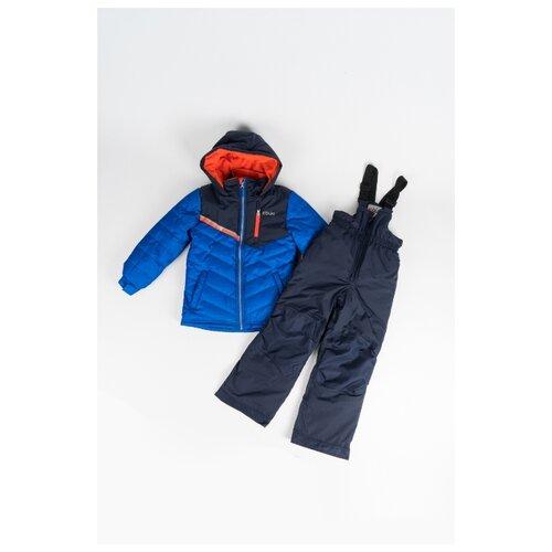 Купить Комплект с полукомбинезоном Buki размер 89, синий/темно-синий/оранжевый, Комплекты верхней одежды