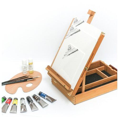 Этюдник Малевичъ МЛ-34 в наборе для начинающего художника Тициан (830209) коричневый малевичъ скетч сумка для художника малевичъ 36х46 см
