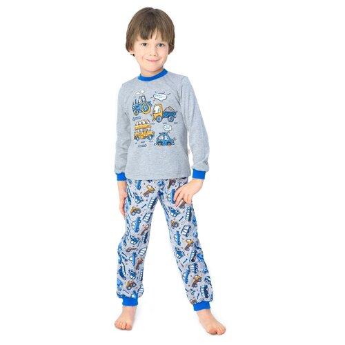 Купить Пижама Веселый Малыш размер 134, серый/синий, Домашняя одежда
