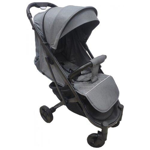 Прогулочная коляска Yoya Plus 3 Exclusive (дожд., москит., подстак., бампер, сумка-чехол, бамбук. коврик, корзина д/пок, ремешок на руку, накидка на ножки) серый/черная рама , цвет шасси: черный