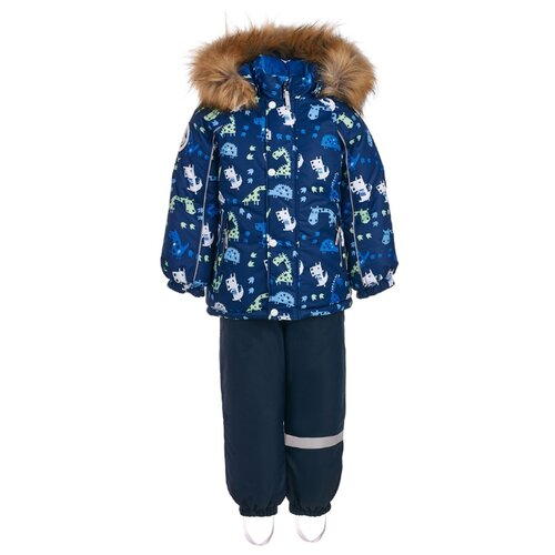 Комплект с полукомбинезоном KISU W18-10201_09023/10022/08021 размер 98, 09023 синий брюки утепленные kisu kisu mp002xc006zn