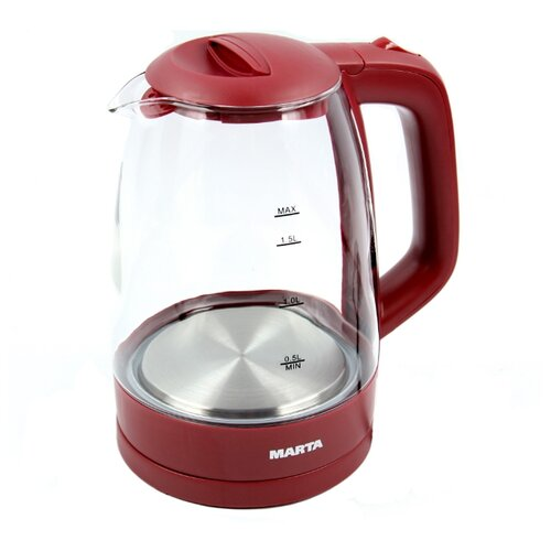 Чайник MARTA MT-1077, бордовый гранат электрический чайник marta mt 1083 dark topaz