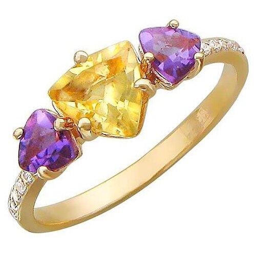 Эстет Кольцо с цитрином, аметистами и фианитами из красного золота 01К316169-7, размер 16.5 эстет кольцо с 80 аметистами из красного золота 01о310312а размер 18 5