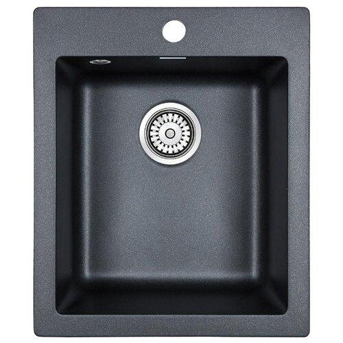 цена на Врезная кухонная мойка 41.5 см Paulmark Leer PM104249 черый металлик