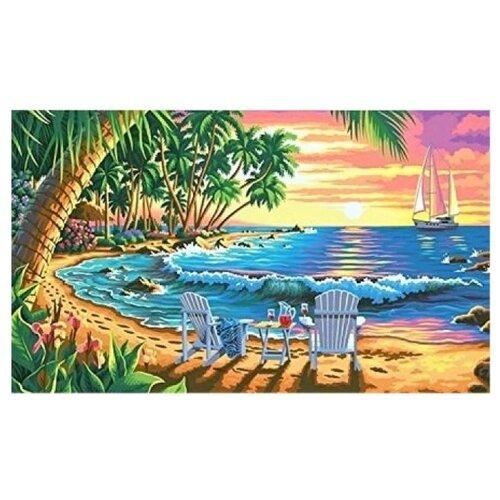 Купить Рыжий кот Картина по номерам Шезлонги у моря на закате 40х50 см (Х-6842), Картины по номерам и контурам