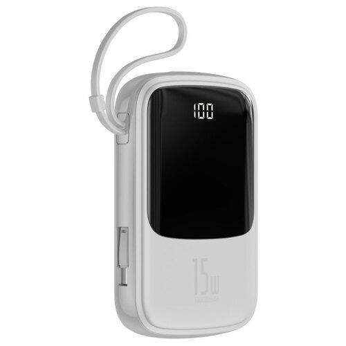 Аккумулятор Baseus QPow Lightning Cable 10000mAh, белый аккумулятор baseus mini s type c cable 10000mah черный