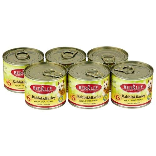 Фото - Влажный корм для собак Berkley (0.2 кг) 6 шт. Паштет для собак #6 Кролик с ячменем 6шт. х 200г влажный корм для собак berkley 0 4 кг 6 шт паштет для собак оленина с коричневым рисом 6шт х 400г