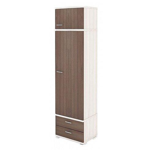 Шкаф-пенал для одежды Мэрдэс Домино КС-10, (ШхГхВ): 55.3х42.7х213 см, карамель/шамони