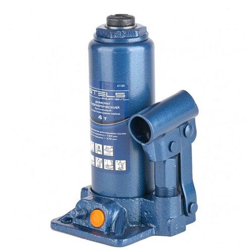 Домкрат бутылочный гидравлический Stels 51123 (4 т) синий