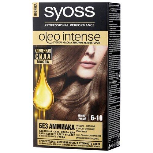 Syoss Oleo Intense Стойкая краска для волос, 6-10 Тёмно-русый syoss oleo intense краска для волос тон 7 10 натуральный светло русый 115 мл