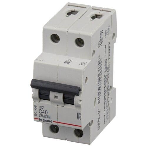 Автоматический выключатель Legrand RX3 2P (C) 4,5kA 40 А legrand выключатель авт 2п c 25а rx3 4 5ка leg 419699