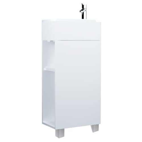 Фото - Тумба для ванной комнаты с раковиной 1Marka Laura Н, ШхГхВ: 39х22х85 см, цвет: белый глянец тумба белый глянец 74 6 см 1marka этюд у57583
