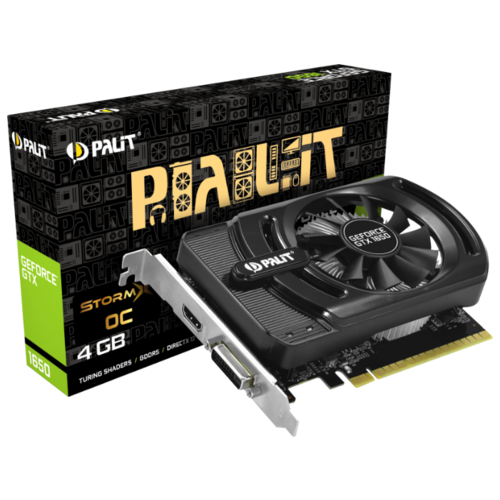 Видеокарта Palit GeForce GTX 1650 1485MHz PCI-E 3.0 4096MB 8000MHz 128 bit DVI HDMI HDCP StormX OC Retail