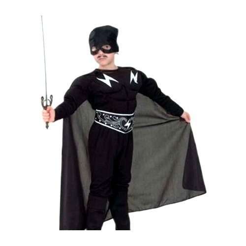 Купить Костюм SNOWMEN Зорро с мускулатурой (Е70843), черный, размер 7-10 лет, Карнавальные костюмы