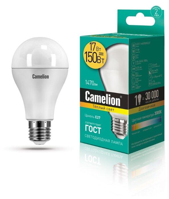 Лампа светодиодная Camelion 12308, E27, A65, 17Вт