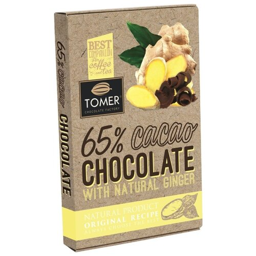 шоколад ameri горький с имбирем и ежевикой 100 г Шоколад Томер горький с имбирем 65%, 90 г