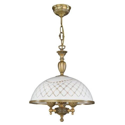 Люстра Reccagni Angelo 7002 L 7002/38, E27, 180 Вт, кол-во ламп: 3 шт., цвет арматуры: бронзовый, цвет плафона: белый люстра подвесная reccagni angelo l 7002 8 3