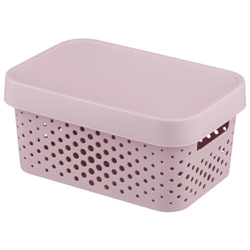CURVER Коробка с крышкой Infinity 12,5x17,5x26см розовый laundry basket curver infinity 59 l gray