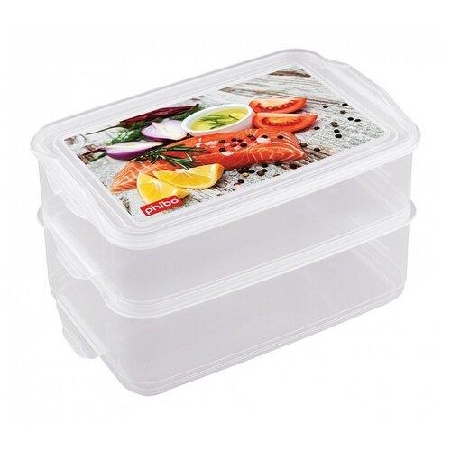 Phibo Комплект контейнеров Food System для продуктов с декором 2 шт. 1.6 л+1.6 л декор phibo контейнер для хранения продуктов на защелке 2 л