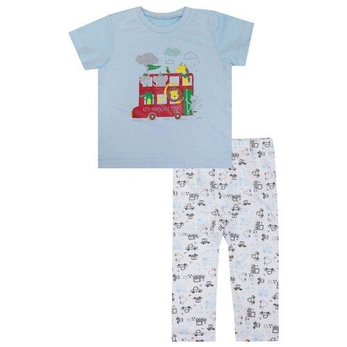 Купить Пижама KotMarKot Симпатичная пижама для мальчика сделана из приятного трикотажа кулирка. Застежка на кнопки. размер 98, голубой, Домашняя одежда