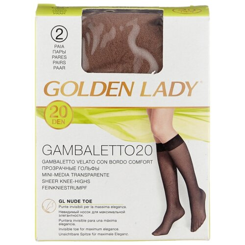 Капроновые гольфы Golden Lady Gambaletto 20 Den, 2 пары, размер 0 (one size), daino