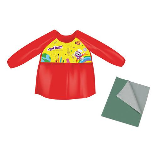 Юнландия фартук-накидка с рукавами + клеенка ПВХ 40x69 см красный