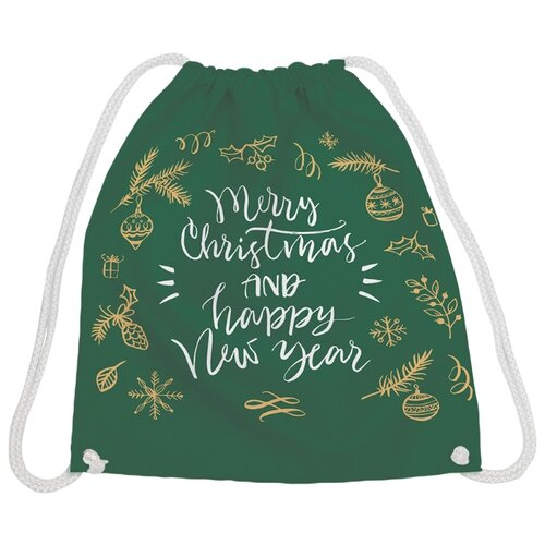 Купить JoyArty Рюкзак-мешок Счастливых праздников (bpa_185489V1) зеленый/белый/золотистый, Мешки для обуви и формы