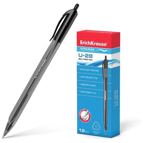 Купить ErichKrause Набор шариковых ручек Ultra Glide Technology U-28 12 шт., 1 мм (33530/33528/33529), черный цвет чернил, Ручки