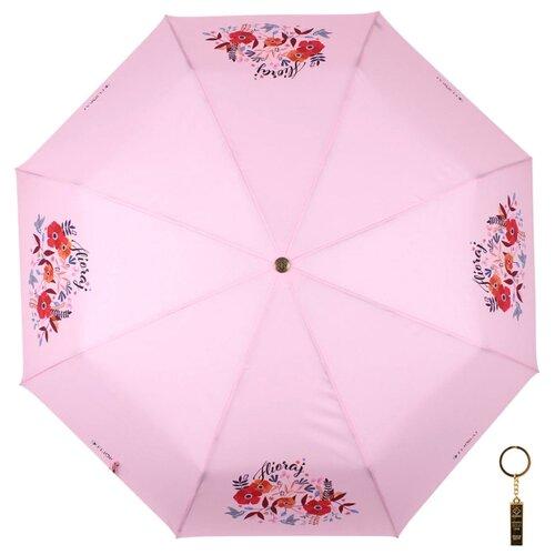 Зонт автомат FLIORAJ Premium Цветы и птицы розовый