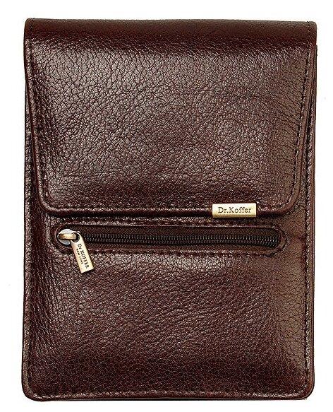 Купить Нагрудный кошелек Dr.Koffer X268061-02, натуральная кожа коричневый 09 по низкой цене с доставкой из Яндекс.Маркета (бывший Беру)