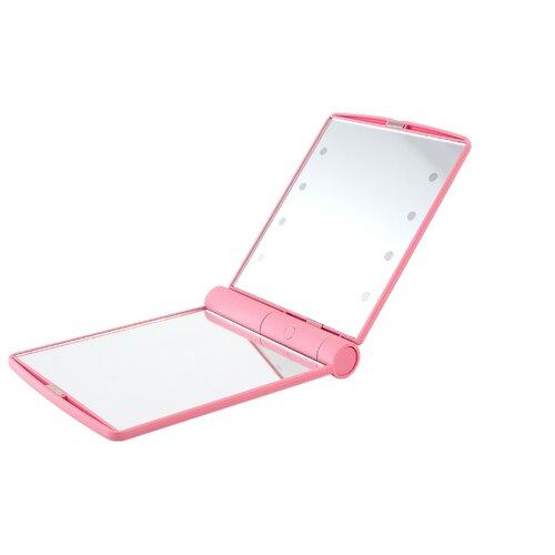 Зеркало косметическое карманное Lucia LM23 с подсветкой розовый